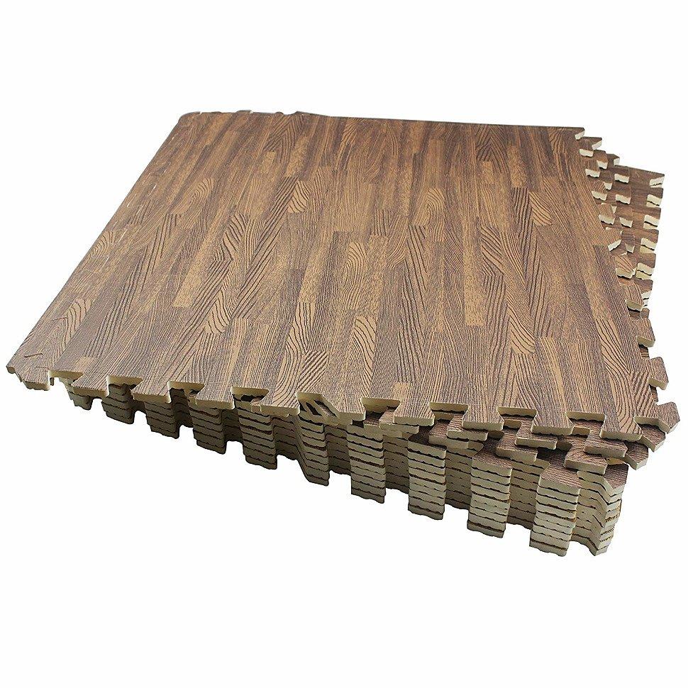 """Мягкие модульные плитки-пазлы под дерево 60x60 см """"Светлый паркет"""""""